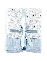 """Hudson Baby """"Shepherd's Swaddle"""" Muslin Receiving Blanket - light blue, one size"""