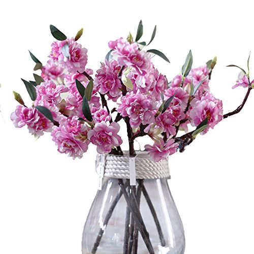 JAROWN 5 Pcs Silk Cherry Blossom Flowers Artificial Branches Sakura Petals for Home Decoration (Dark -
