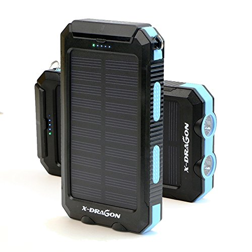 X-DRAGON Solar Charger 10000mAh Solar Power Bank with Compass Hook