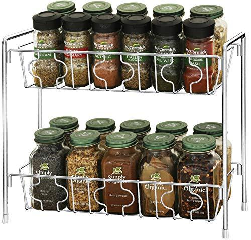 SimpleHouseware 2-Tier Kitchen Counter Organizer Spice Rack, Chrome