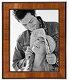 Malden International Designs Burl Wood Walnut Wooden Picture Frame with Black Border, 8x10, Walnut