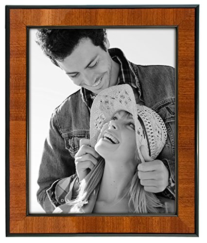 Malden International Designs Burl Wood Walnut Wooden Picture Frame with Black Border, 8x10, Walnut