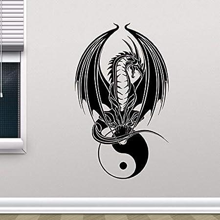 jiuyaomai Dragon Yin Yang Tatuajes de Pared Dormitorio Arte de la ...