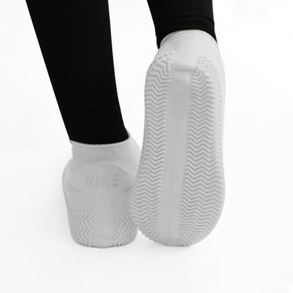 Waterproof Silicone Shoe Boot Socks Rain Covers - Tightly Around Your Shoe, Waterproof Zipper Easy Wear - Reusable Men Women Kids Shoe Cover for Outdoor/Indoor/Walking Non-Slip (Large, White)