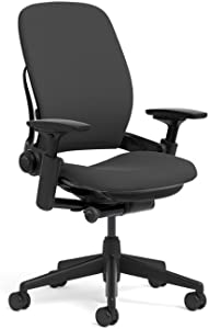 Steelcase Leap Task Chair: Adjustable Arms - No Headrest - Hard Floor Casters - Black