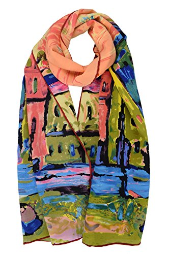 (Luxurious 100% Charmeuse Silk Long Scarf Wassily Kandinsky Houses in Munich)
