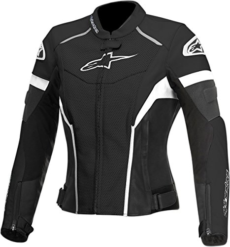 Alpinestars Stella GP Plus R Women's Perforated Leather Riding Jacket,Black/White, 46