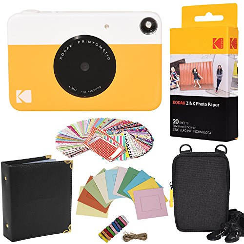 Kodak Printomatic Instant Camera (Yellow) Gift Bundle + ZINK Paper (20 Sheets) + Case + 100 Sticker Border Frames + Hanging Frames + Album