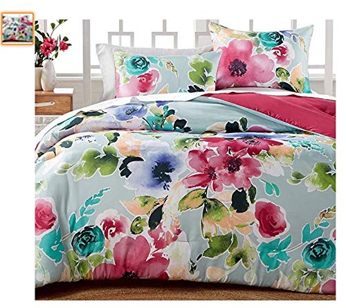Hallmart Floral Comforter Set Queen Floral Print Watercolor Reversible Comforter Set for Spring - Pink and Blue 3 Piece Set
