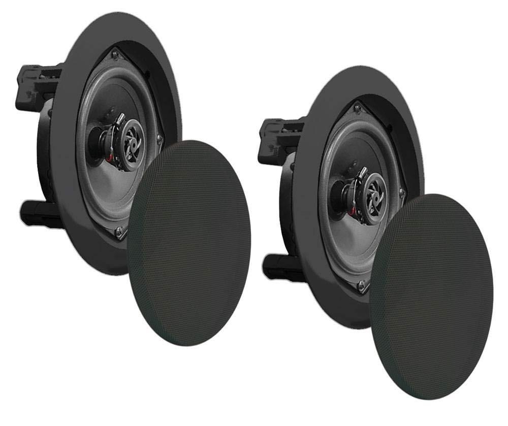 Pyle 2 NEW PDIC51RDBK 5.25 Inch 150 Watt Black In-Ceiling Flush Speakers Pair by PyleHome