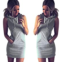 Tenworld Women Summer Casual Sports Sleeveless Mini Dress Hoodie WIth Pocket
