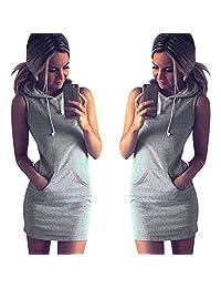Tenworld Women Summer Casual Sports Sleeveless Mini Dress Hoodie WIth Pocket