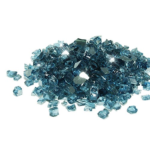 Starfire Glass® 20-Pound Fire Glass with Fireplace Glass and Fire Pit Glass, 1/2-Inch, Pacific Blue (Reflective Supreme) (Fire Glass Blue Pacific)