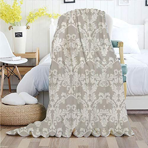 Ylljy00 Taupe,Throw Blankets,Flannel Plush Velvety Super Soft Cozy Warm with/Nature Garden Themed Pattern with Damask Imperial Tile Rococo Inspired Stylized/Printed Pattern(50