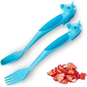 Dinneractive Unicorn Utensil Set - 2 PC - Blue - Soft-Grip Kid Fork & Spoon - Fun Toddler Dinnerware Set - Kids Utensils