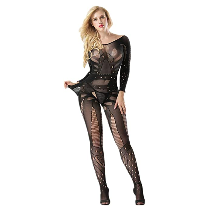 Crotchless Sheer Bodysuits Black Bodystocking Full Body Vest Pantyhose Ultra-thin Transparent Open Crotch Strap Tights Stocking Teddies & Bodysuits