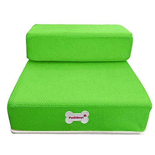 Hisoul Pet Stairs Soft Cover Breathable Mesh Foldable Pet Stairs - Washable Breathable, Detachable Pet Bed Stairs Dog Ramp - 2 Steps Ladder, for Older Ailing Pets (♥ Green, M-Flat:26.3
