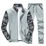 Sun Lorence Men's Sports Camo Sweatshirt With Jogger Pants Sweat Suit Tracksuit Set Lightgrey XXL