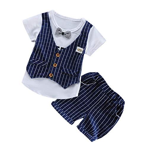 0-3T Toddler Infant Kids Baby Boy Gentleman Suit, Wedding Formal Tuxedo Strip Short Sleeve Shirt Bow Tie Pant 2 Set Layette Sets (Navy, 2-3 Years)