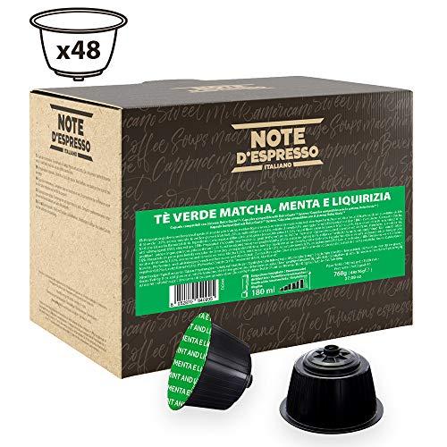 Note D Espresso - Capsulas de te verde matcha con menta y regaliz Exclusivamente Compatibles con cafeteras de capsulas Nescafe y Dolce Gusto 16g (caja de 48 unidades)