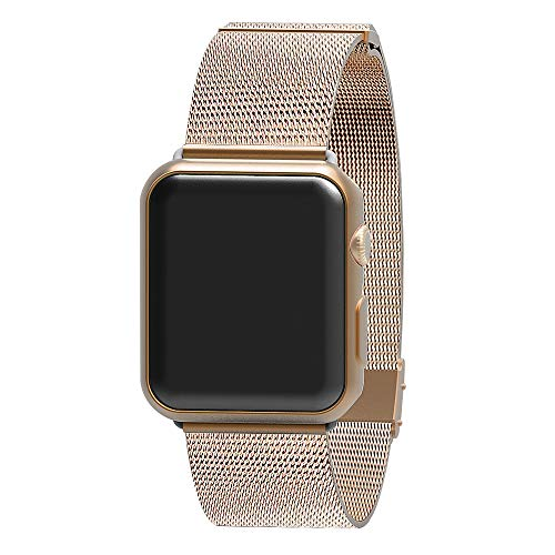 AWOOWELL for Watch Band 38mm 40mm,Stainless Steel Mesh Metal Loop with Adjustable Magnetic Closure Replacement Bands for Iwatch Series 4 3 2 1 Gold ()