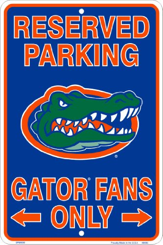 Florida Gators Fans Reserved Parking Sign Metal 8 x 12 embossed
