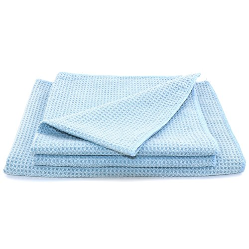 (SEG Direct Waffle Weave Drying Towel 3 Set - 1 Large + 2 Small - Super Drying Capability for Car Kitchen Bathroom Household Cleaning)