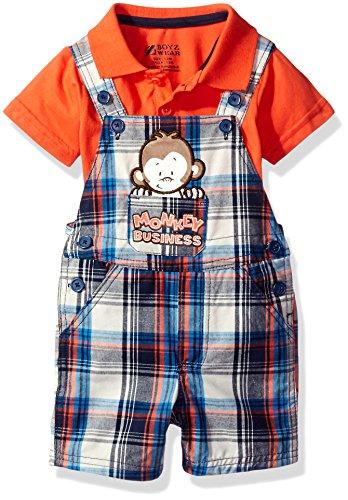 Nannette Baby Boys' 2 Piece Woven Shortall Set, Orange, - Boy Shortalls Baby