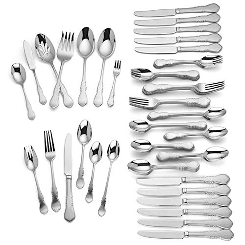 (Lenox Wescott 82 Piece Flatware Set Service For 12 Stainless Steel 18/10 includes Hostess set)