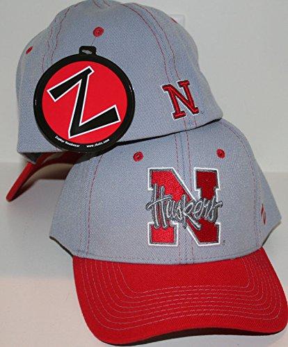 Nebraska Hat Fitted Cornhuskers Zephyr - ZHATS University of Nebraska NEB Cornhuskers Silver/Grey Best Overcast Adult Mens Baseball Hat/Cap Size XL