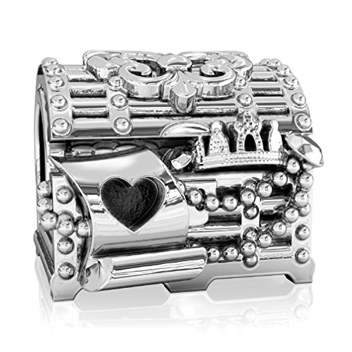 BELLA FASCINI Fairytale Treasure Chest Fleur de Lis Silver Bead Charm Fits Compatible Bracelets