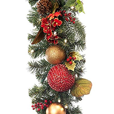 9 ft. Artificial Pre Lit LED Decorated Christmas Garland-Scarlet Hyrangea decorations-100 super mini LED warm clear colored lights with timer and battery pack for indoor and outdoor use