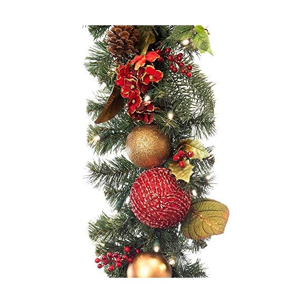[9 Foot Artificial Christmas Garland] – Scarlet Hydrangea Collection – Red and Gold Decoration – Pre Lit with 100 Warm Clear Colored LED Mini Lights – Includes Remote Control Battery Pack with Timer