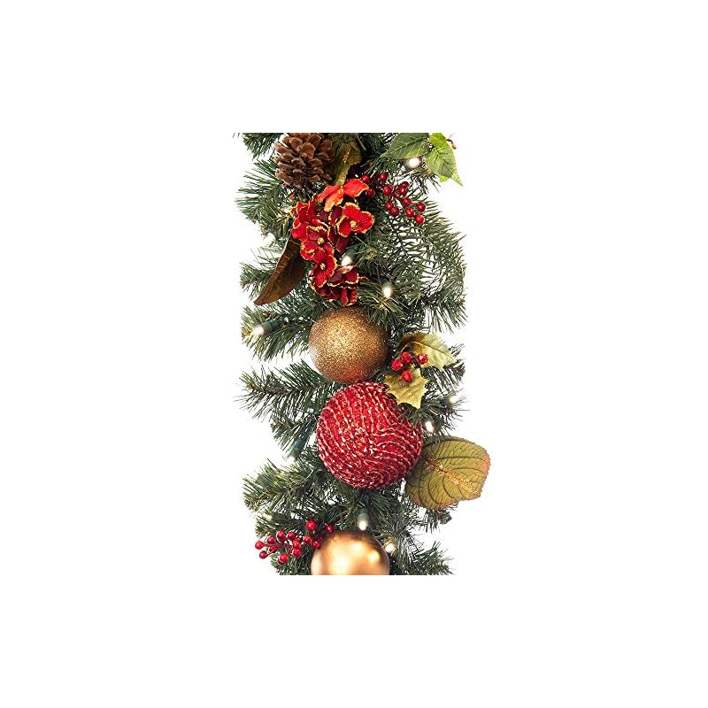 silk flower arrangements [9 foot artificial christmas garland] - scarlet hydrangea collection - red and gold decoration - pre lit with 100 warm clear colored led mini lights - includes remote control battery pack with timer