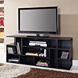 WE Furniture 60 Black Wood TV Stand Console