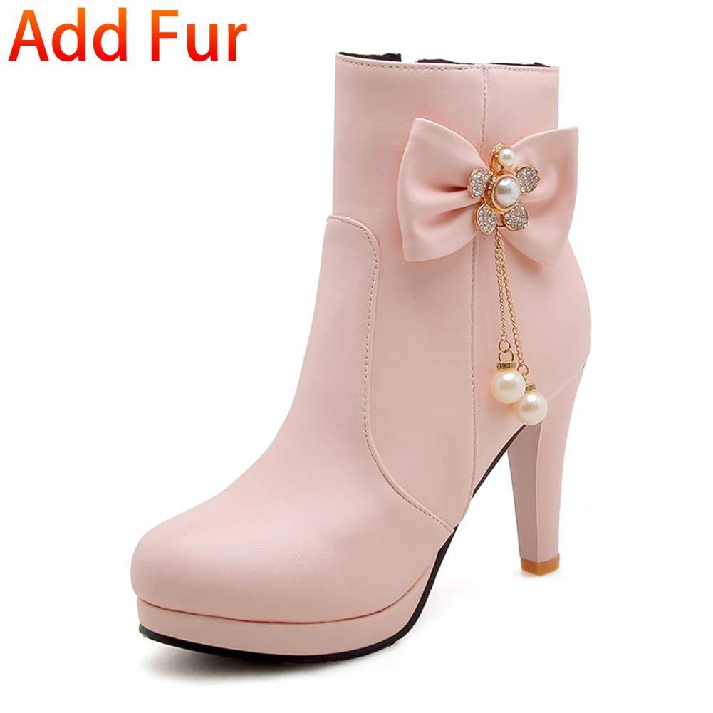 rose with fur HOESCZS Nouveau Grande Taille 32-43 Talons Doux Bow Bottines Femme Chaussures Ajouter Fourrure Bottes d'hiver Femme Bottes Chaussures Femme