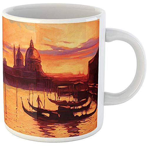 Promenade Oil Painting - 11oz Coffee Mugs Tea Cups Gifts Landscape Promenade and Pier Gondola in Venice Oil Painting Ceramic Coffee Mugs Tea Cup Souvenir