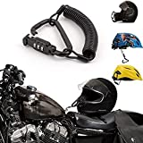 Motorcycle Helmet Lock Black Combination PIN Locking Carabiner Secure Motorcycles Lock with 6 feet Cable,Bike Helmet,Jacket,Cabinets Luggage Waterproof Lock