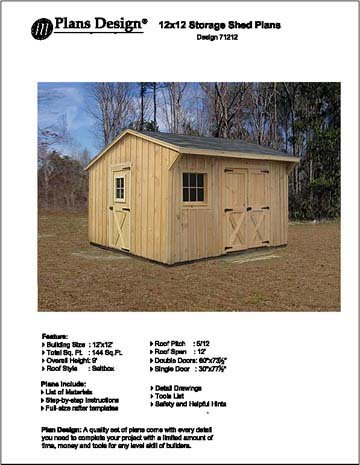 Saltbox Storage Shed Plans (Backyard 12' X 12' Saltbox Style Storage Shed Project Plans - Design #)