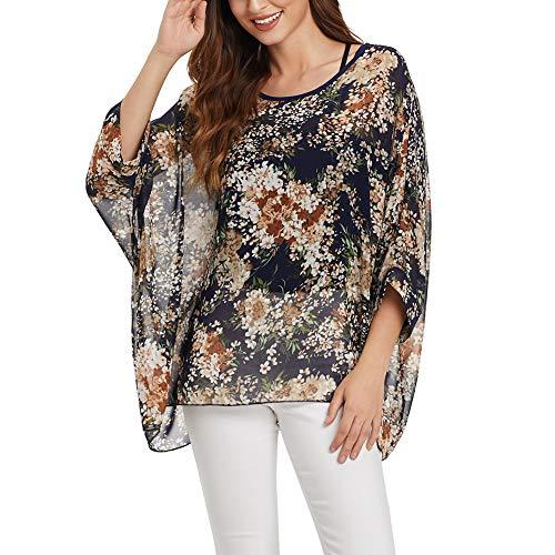 - Women's Bohemian Style Batwing Sleeve Butterfly Printed Chiffon Caftan Poncho Tunic Top Beach Loose Shirt (MMSH)