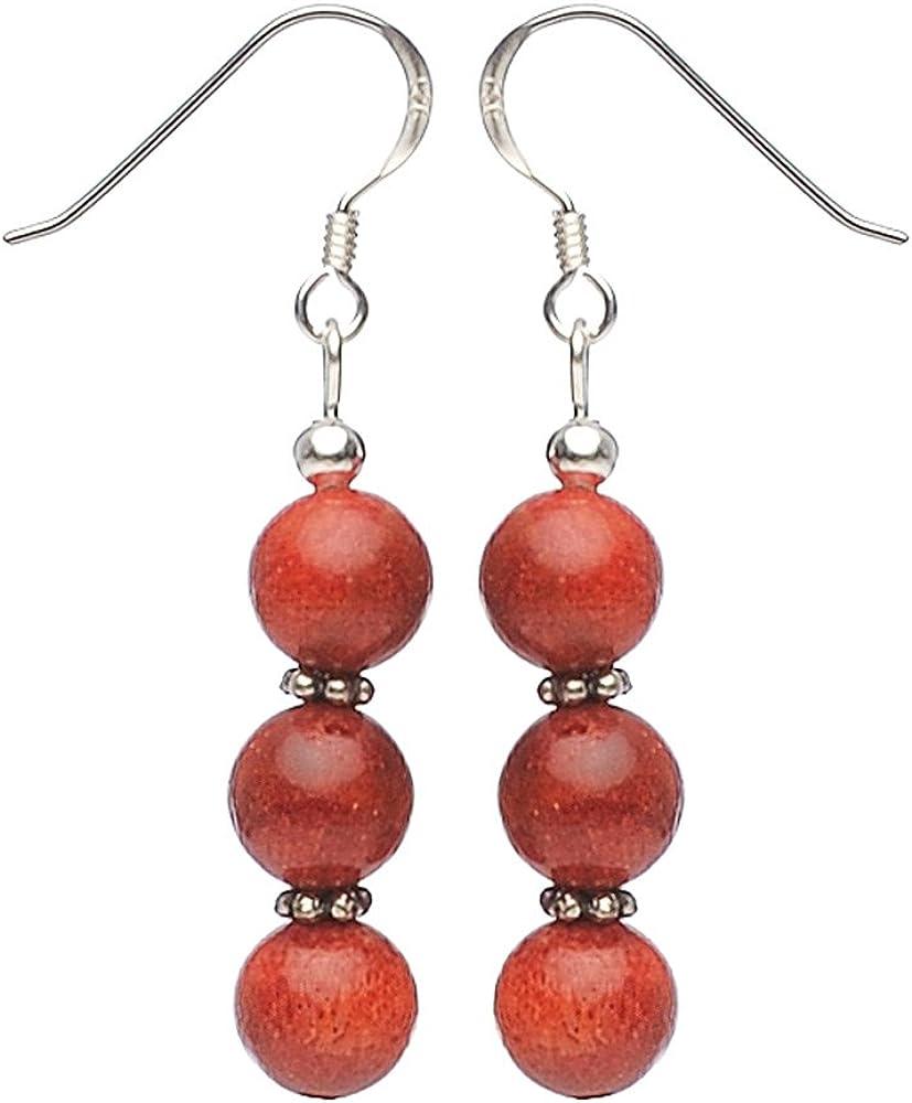 Schmuck-Krone - Pendientes de coral y plata 925, color rojo