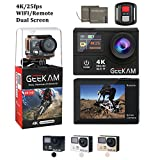 4K Action Camera,Waterproof Wi-Fi 2.4G Remote Control Dual Screen Sport Cam Ultra HD Video 170 Degree Wide Angle with 2 Batteries and 19 Mounting Accessories Kits