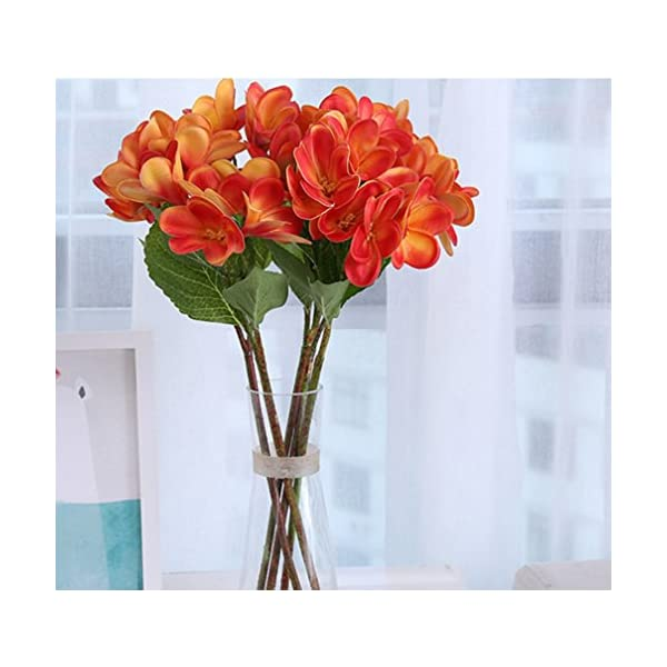 Skyseen 3PCS PU Real Touch Lifelike Artificial Plumeria Frangipani Flower Bouquets Wedding Home Party Decoration (Sunset Red)