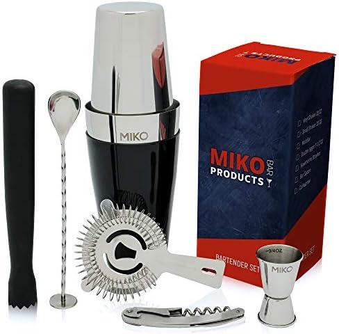 Miko Professional Bartender Kit – Cocktail Shaker Bar Set – Includes Bar Tools Bartender Accessories Boston Cocktail Shaker, Muddler, Strainer, Jigger, Bar Spoon, Corkscrew Regular-Used