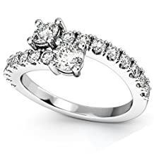 """18k Gold Women's """"Ever Us"""" Two Stone Diamond Ring with Accents"""