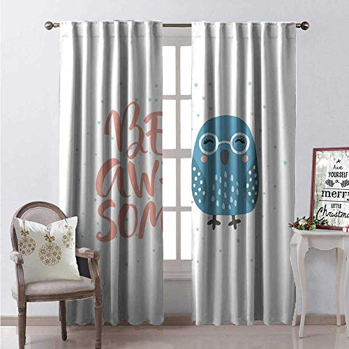 Hengshu Be Awesome Blackout Window Curtain Smiling Sparrow Bird Glasses and Doodled Heart Customized Curtains W84 x L96 Pale Petrol Blue Slate Blue and Coral
