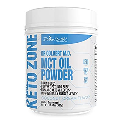 Keto Zone MCT Oil Powder (Coconut Flavor) (300 grams) (30 Day Supply) - Recommended in Dr. Colbert's Keto Zone Diet - Alternative Coffee and Tea Creamer - Ketogenic Recommended - Dairy Free - Soy Free