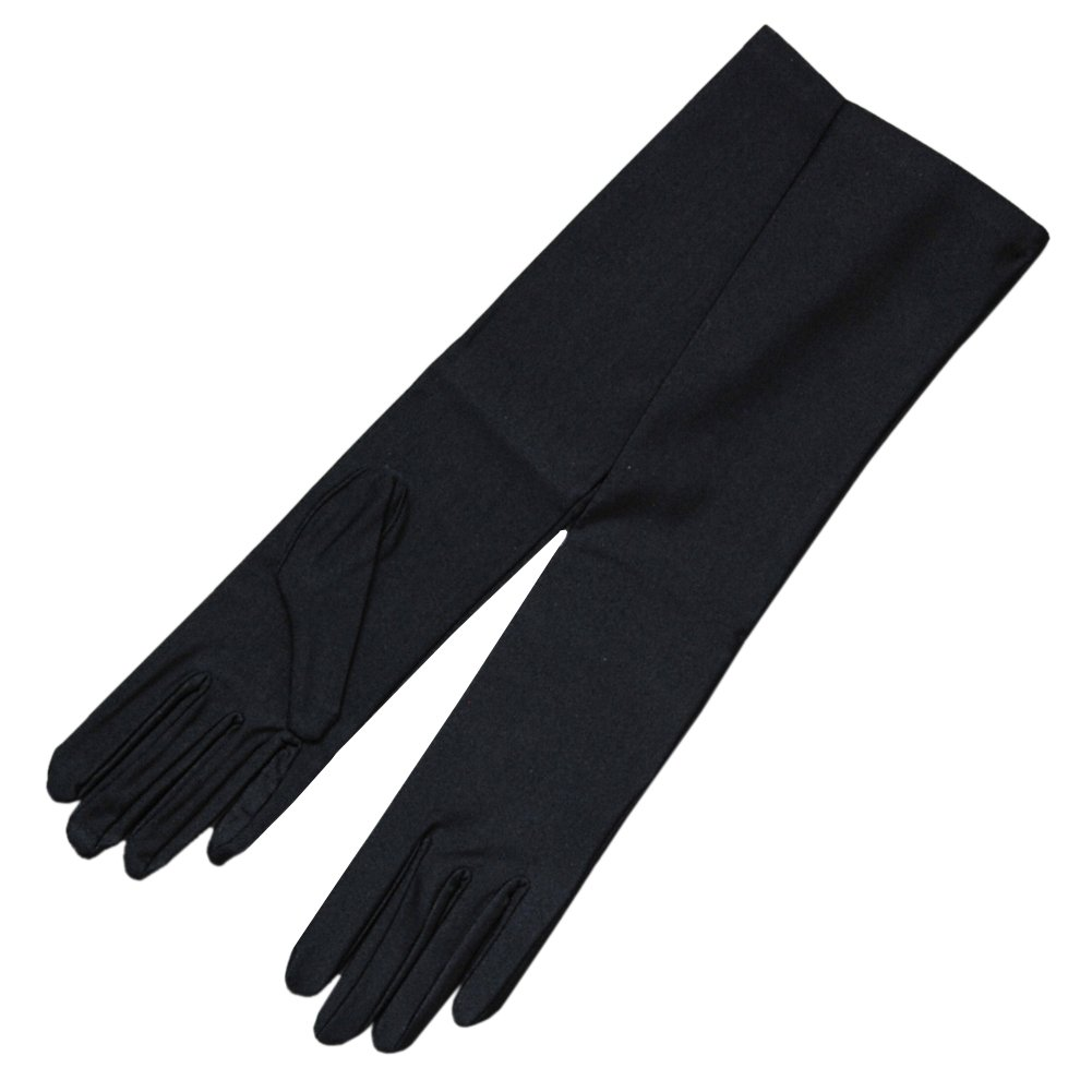 ZaZa Bridal 4-Way Stretch Matte Finish Satin Youth Size(13-16yrs) Gloves - 8BL-Black