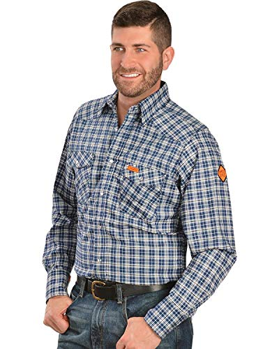 Wrangler Men's Flame Resistant Western Two Pocket Snap Shirt, Navy Plaid, L