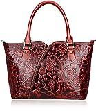 PIJUSHI Designer Handbags For Women Floral Purses Top Handle Satchel Handbags (22328 red)